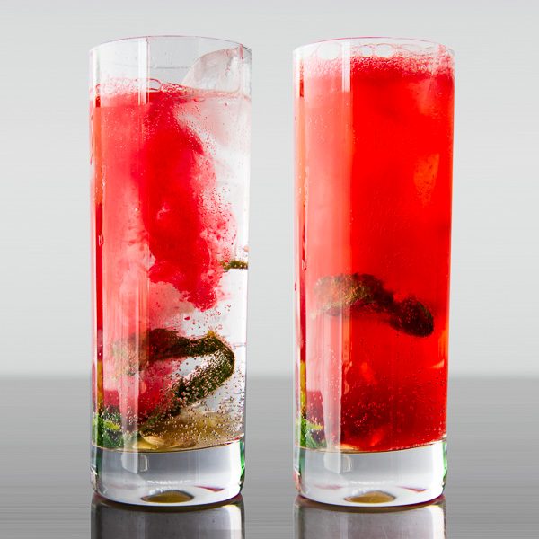 Pour pomegranate-lemon syrup into sparkling water with ice and muddled mint and lime and then smile.