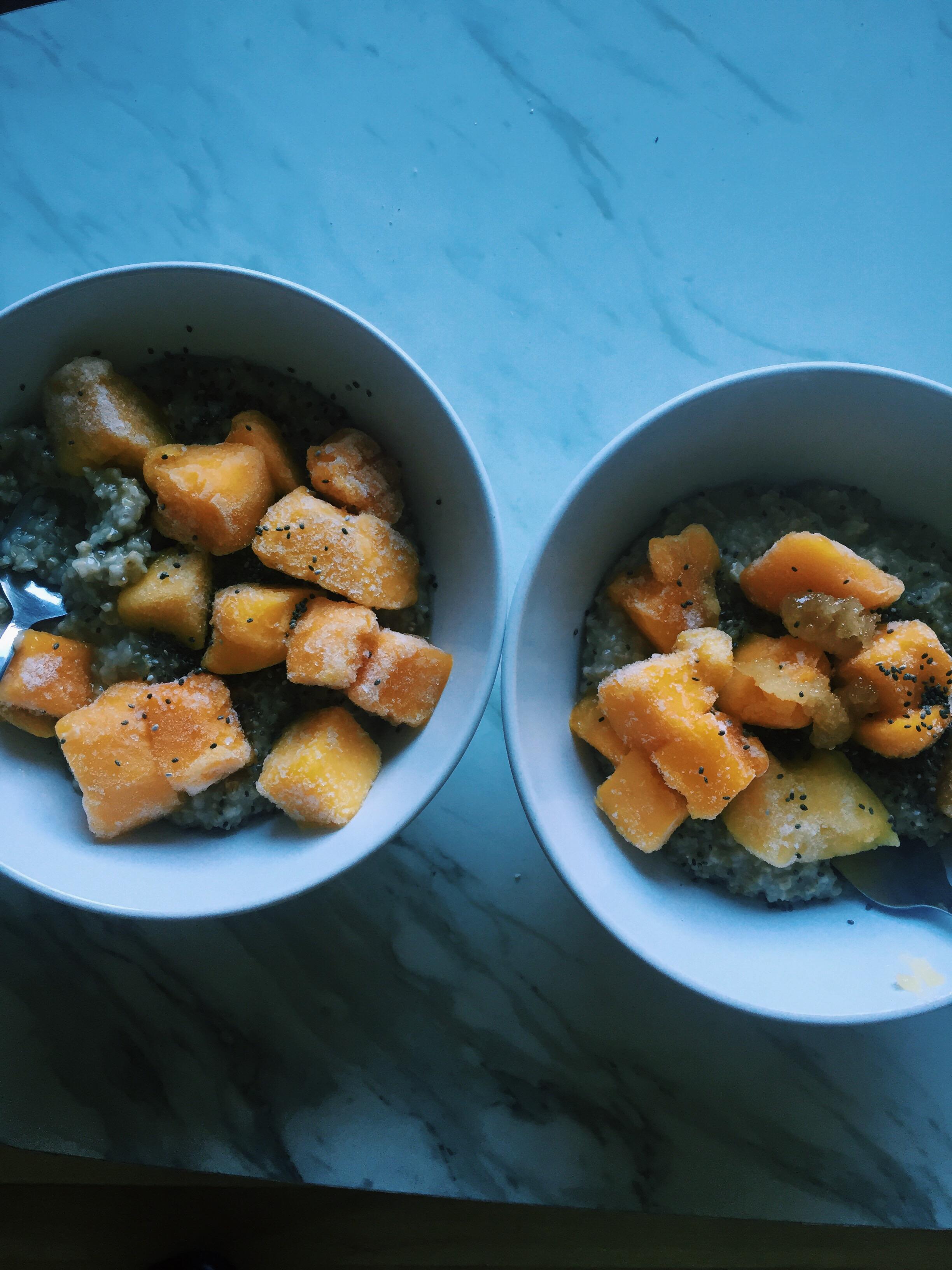 Breakfast: Steel cut oats, mango, chia seeds, and rice milk.