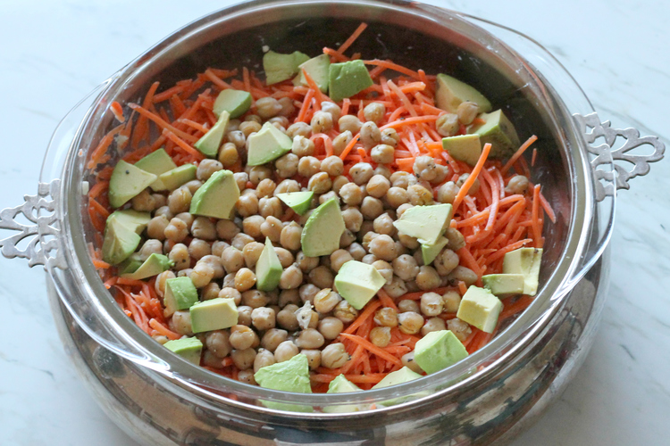 Carrot Salad with Tahini and Crisped Garbanzo Beans
