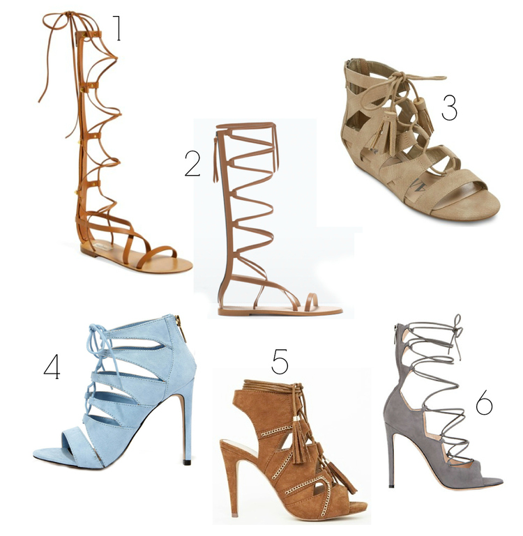 1. Splurge on these  Valentinos.   2. Almost identical to the Valentino's but for a fraction of the cost!  HERE.   3. Mellow, cute and the price is right!  HERE.   4. I love the unexpected baby blue, especially for spring!  HERE.   5. I love these tassels!  HERE.   6.These grey Gianvito Rossi beauties are definitely a splurge, but oh so worth it.  HERE.