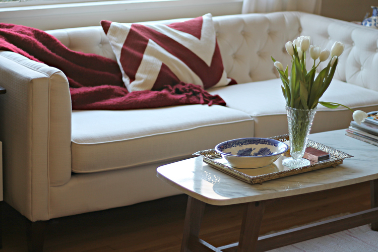 This chevron pillow and berry throw are for the days I feel cozy and laid back. This gives my couch a more approachable cozy look.