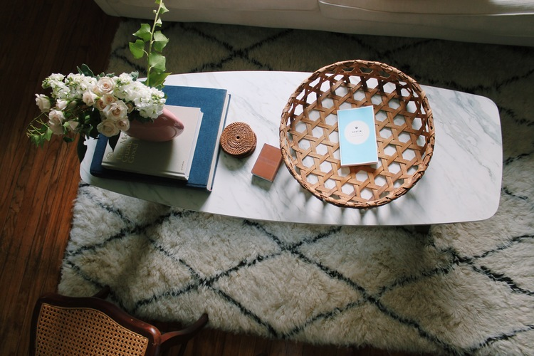 Right after I took pictures of my place I went to Goodwill and found this amazing basket! I love its pattern and am obsessed with how it looks on our coffee table!