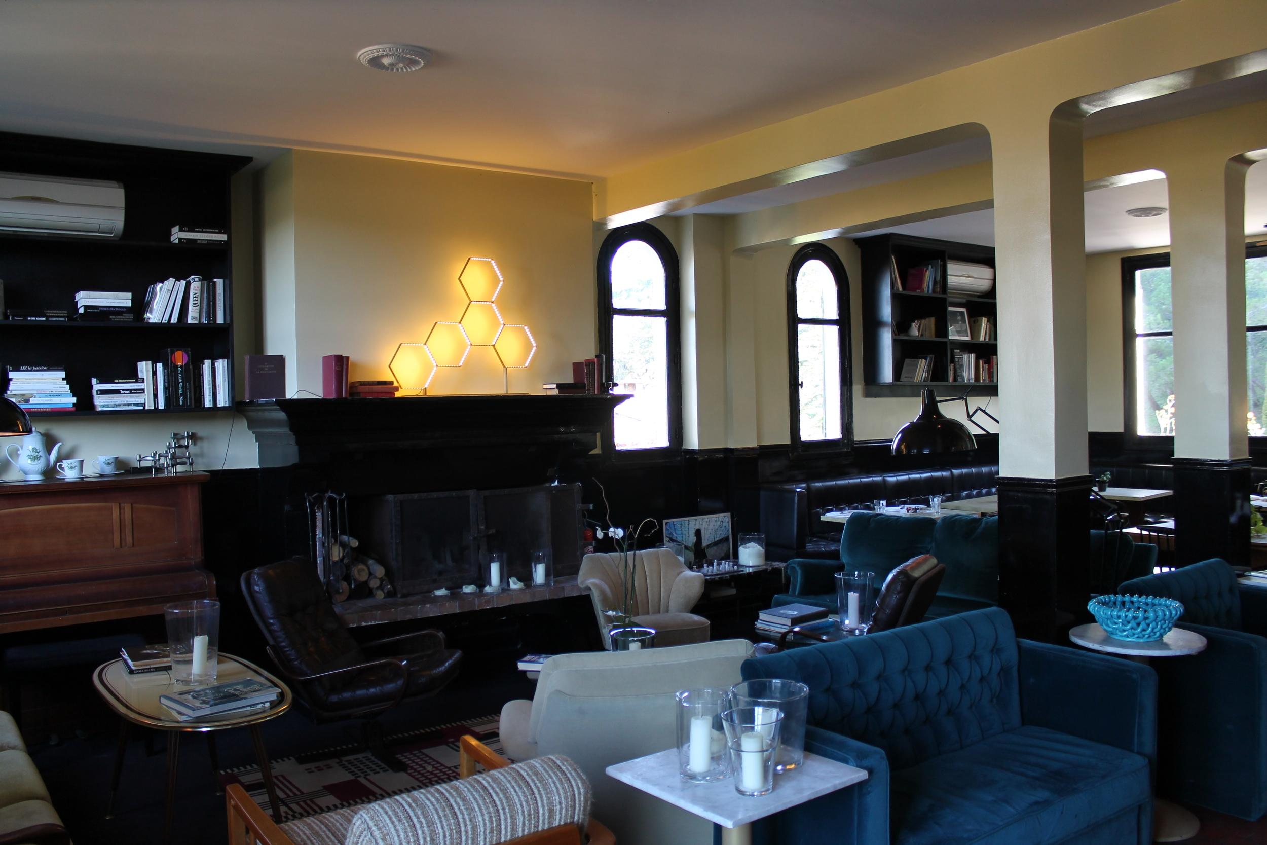 Fun eclectic hotel lounge.