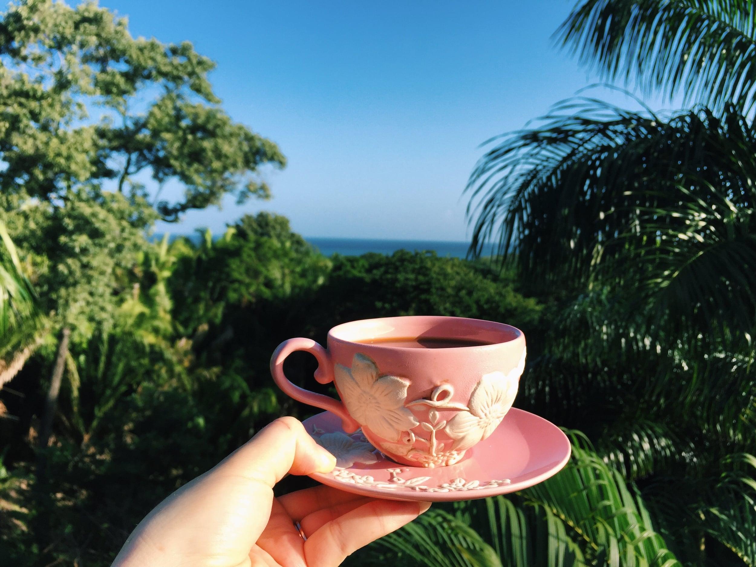 Coffee on my mom's deck.