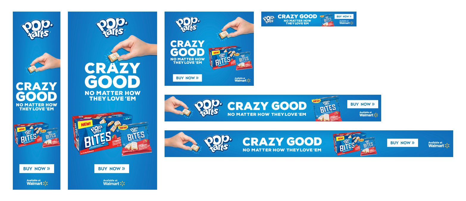 Banners created for Walmart to promote new Pop Tarts product