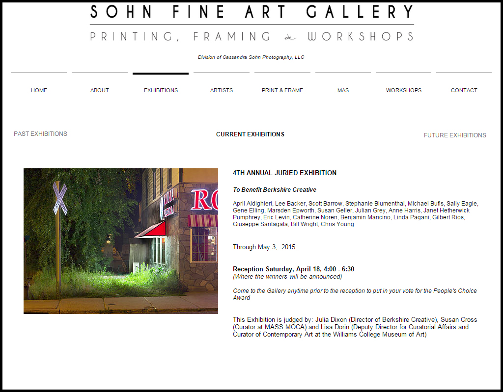 Roma Pizzeria in juried exhibition at Sohn Fine Art Gallery, March 20– May 3, 2015