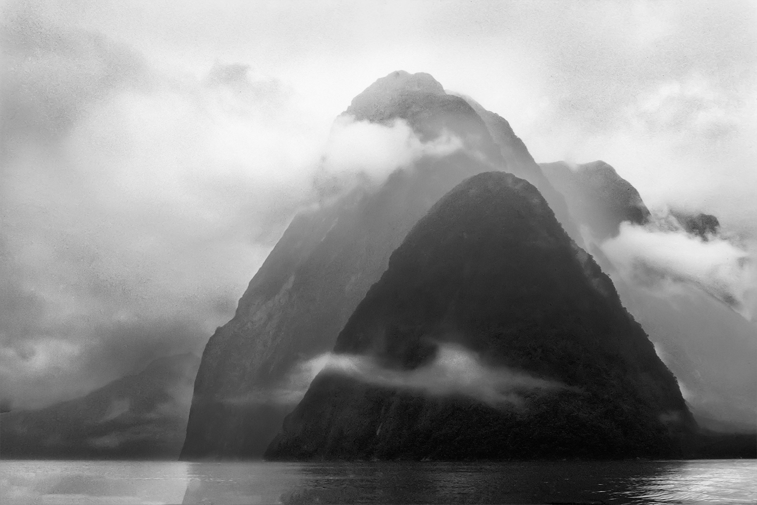 Mitre Peak and Clouds, Milford Sound, New Zealand