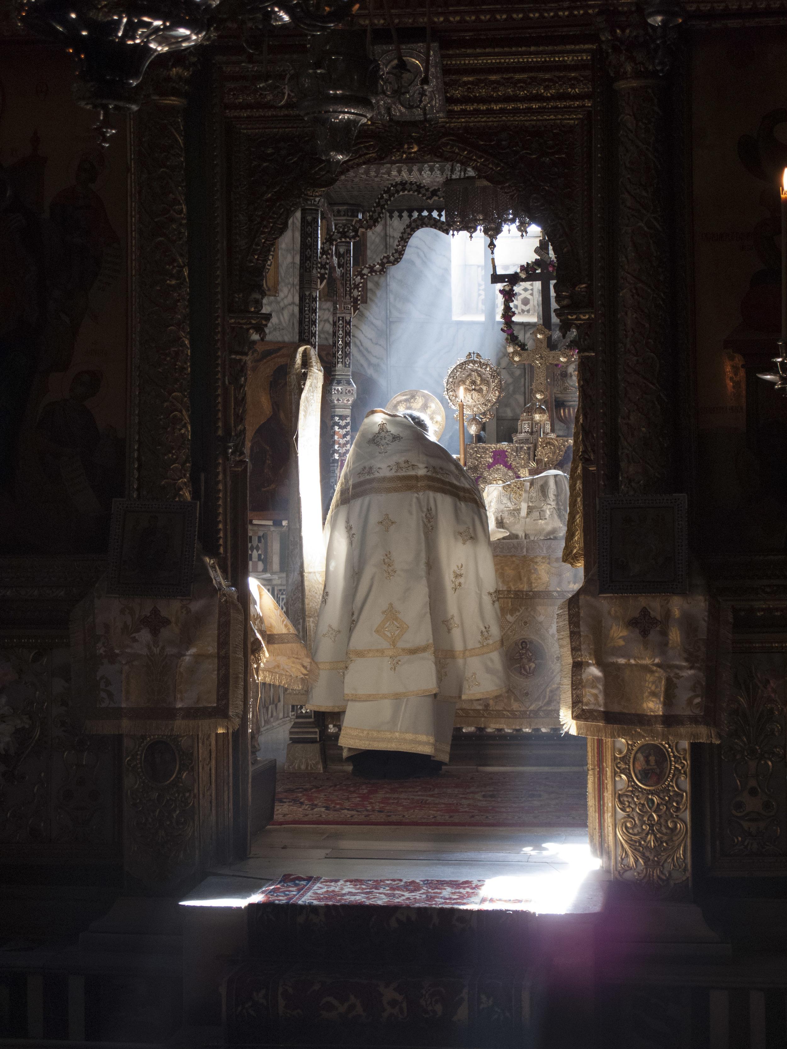 Elder Pavlos serving Liturgy on Holy Thursday