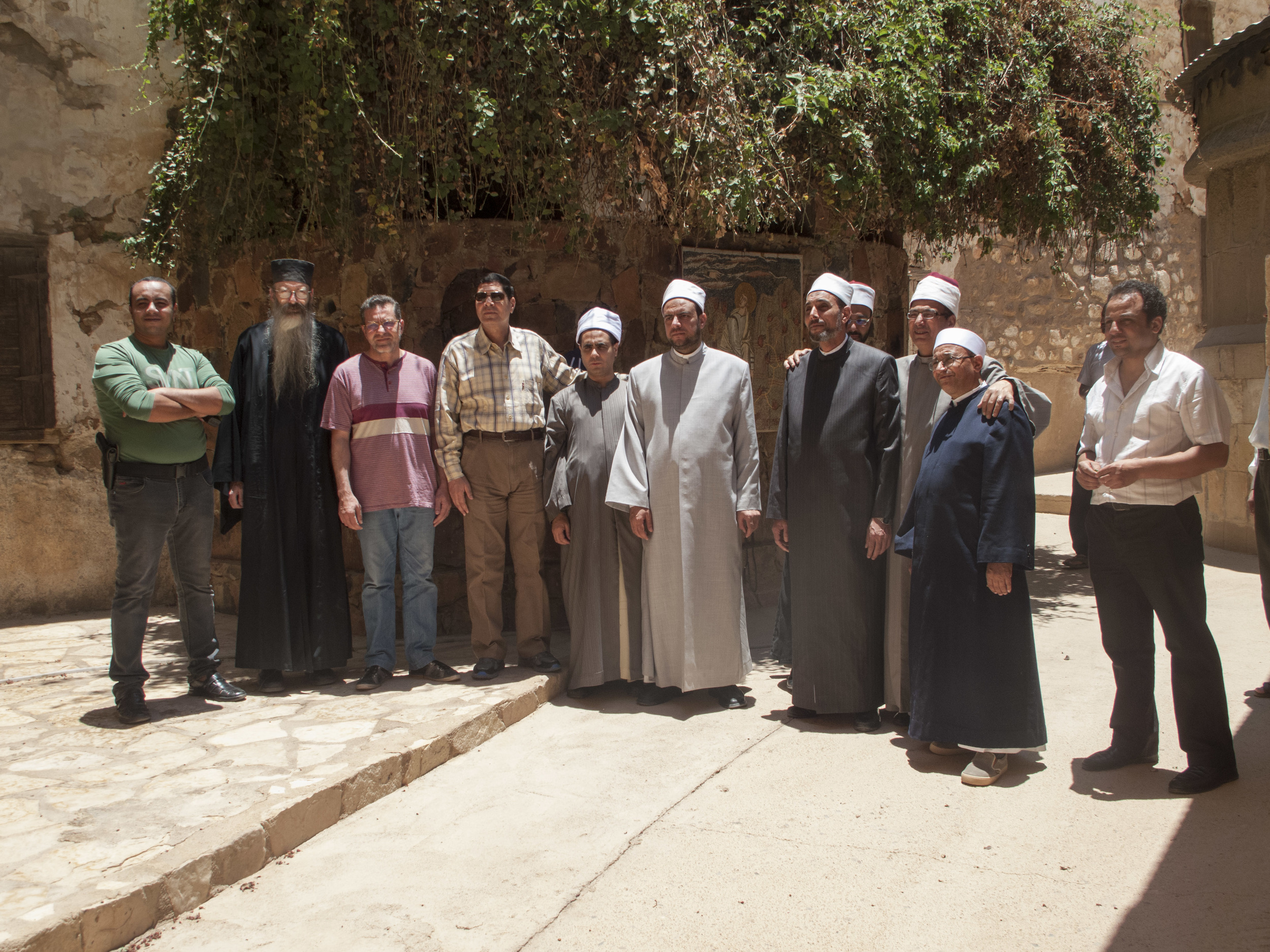 The delegation stood for a group photograph at the Burning Bush.