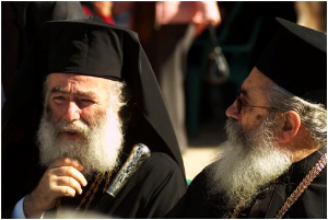 His Beatitude the Patriarch of Alexandria and All Africa Theodoros II (l) and Archbishop Damianos I of Sinai, Pharan and Raitho (r) share a private moment on the Feastday of Saint Catherine in 2005. (Massimo Pizzocaro/Italy)