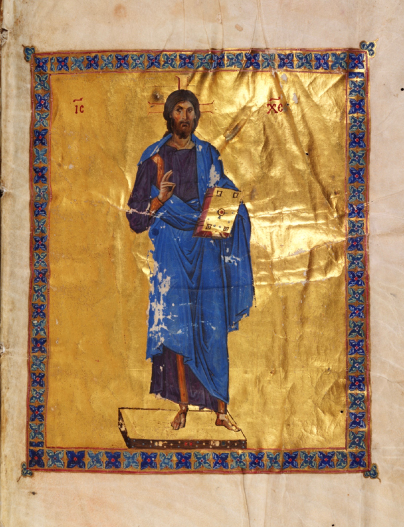 On a background of burnished gold and surrounded by a gem-like border, Christ Pantocrator is rendered in translucent colors with great subtlety in Sinai Codex Theodosianus.