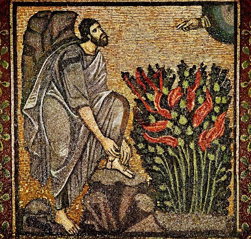 Mosaic of Moses at the Burning Bush in the Monastery Church