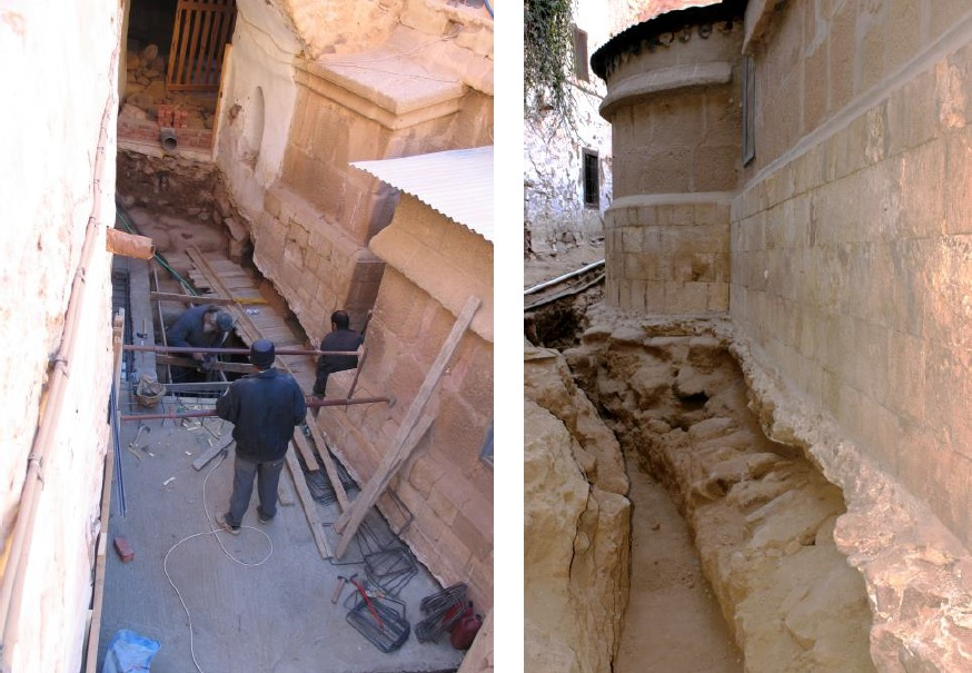Prior drainage work in the first phase of the project, on a different portion of the main church.