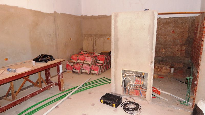 Restoration work on one of the cells