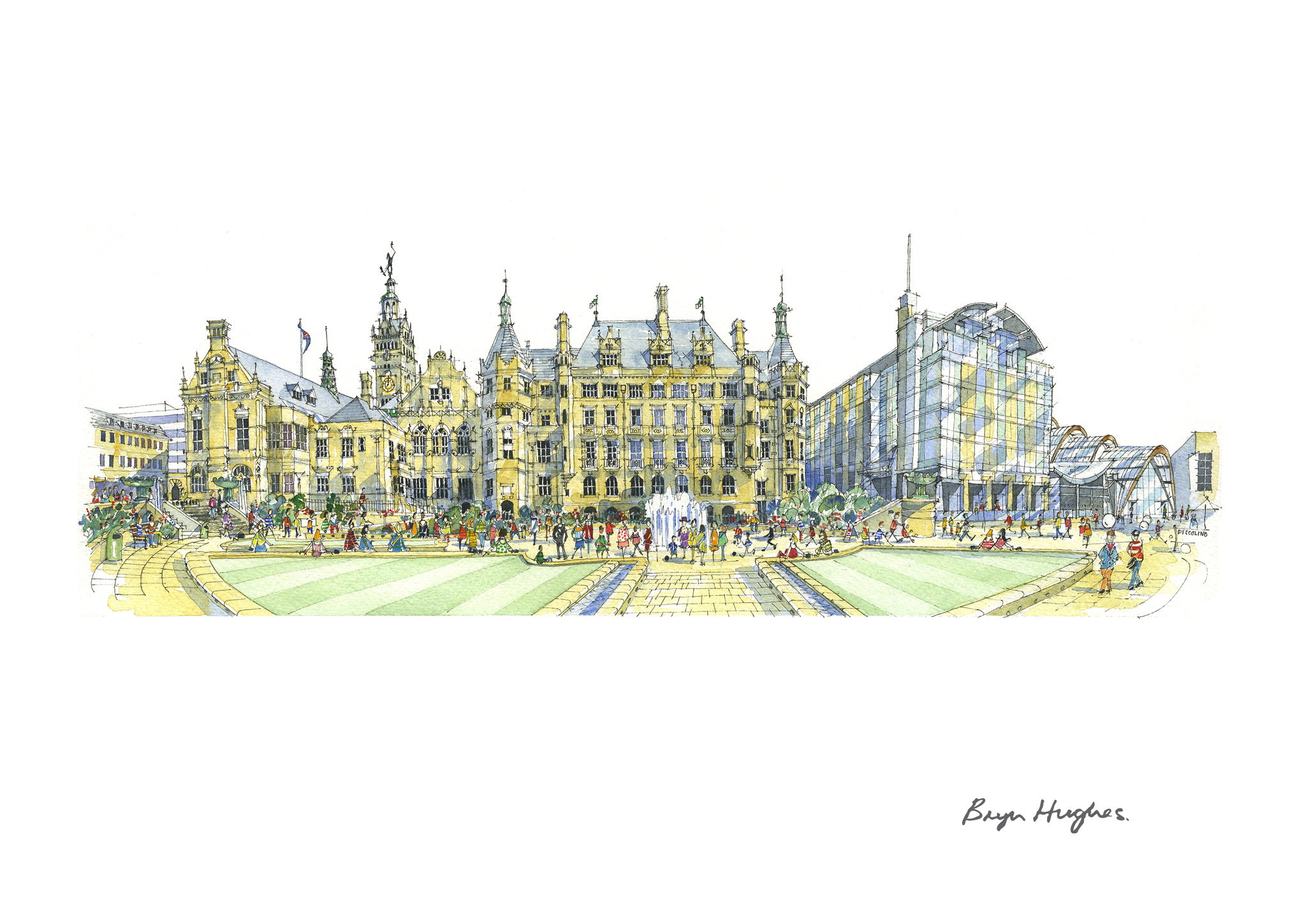Watercolour of Sheffield Town Hall fro the Peace Gardens