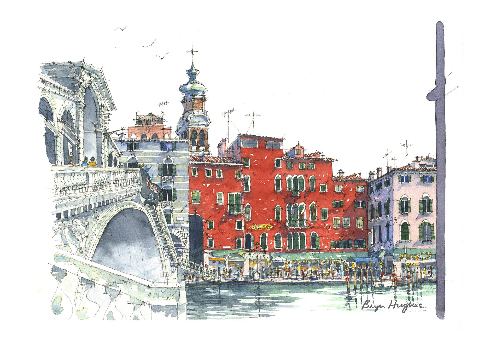Watercolour of The Rialto Bridge, Venice