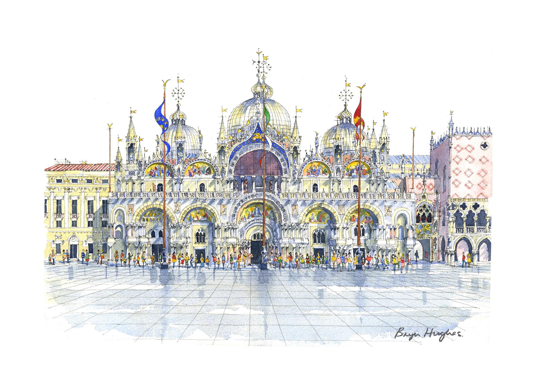 Watercolour painting of Saint Mark's Basilica. Venice