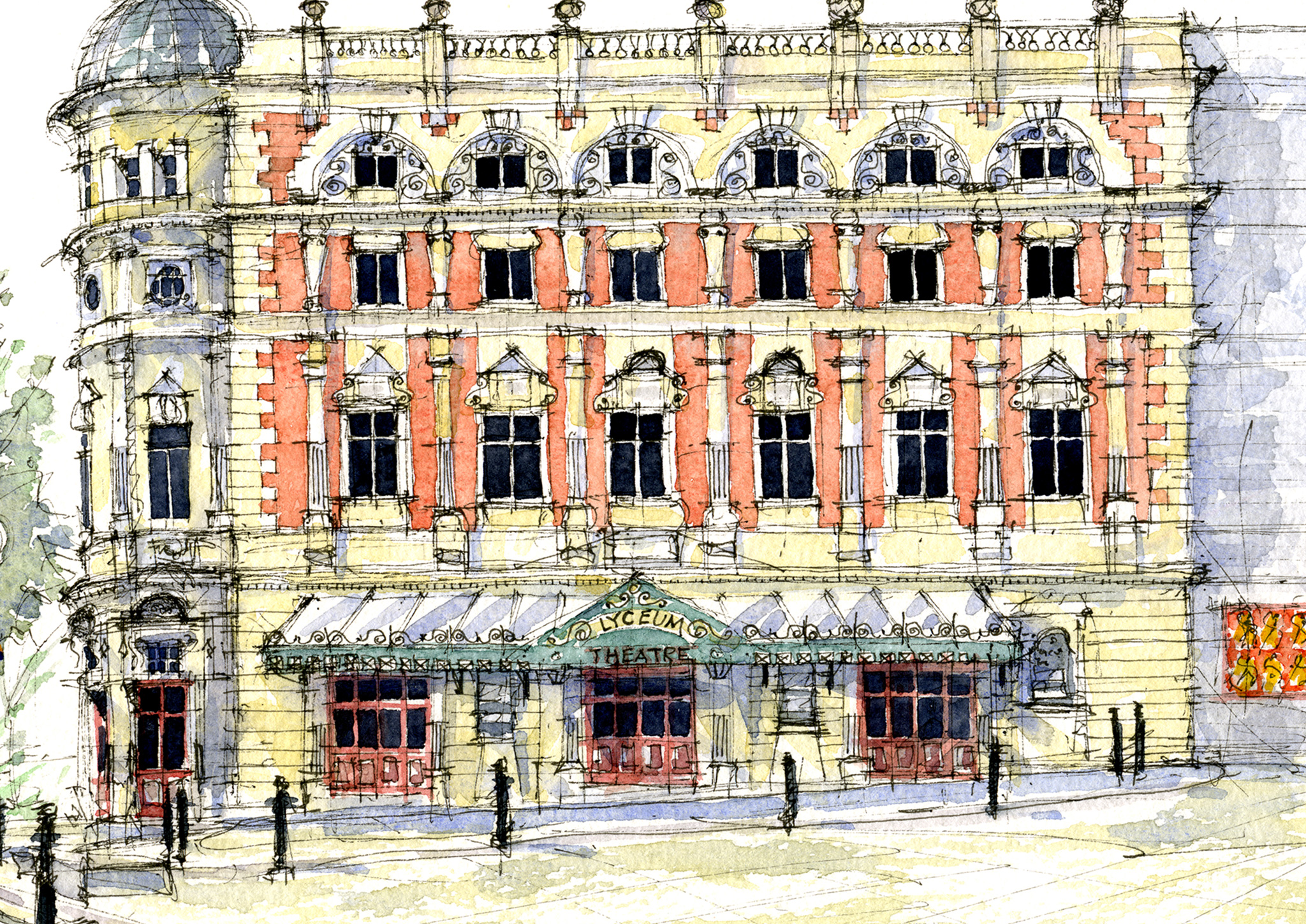 Watercolour painting of the Lyceum Sheffield