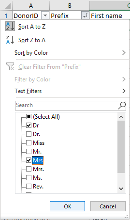 On Prefix column, filter using drop-down box. Click Select All, then scan and click prefixes that need correction. Click OK.