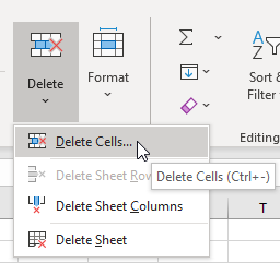 Select Delete > Delete Cells or press CTRL+-.