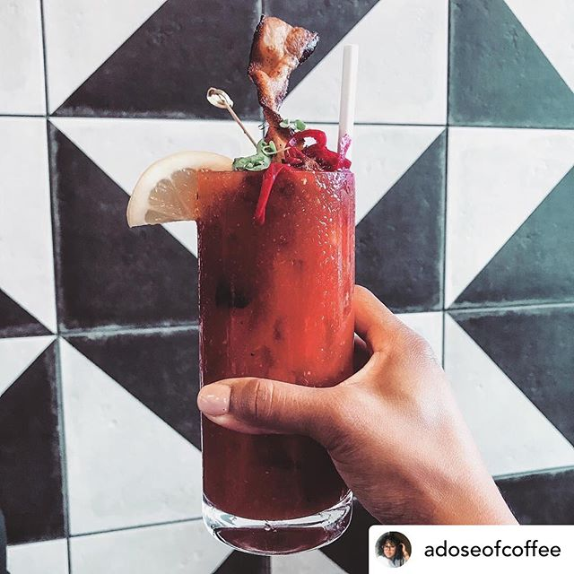 Thanks for the 📸 @adoseofcoffee  Brunch vibes at my favorite spot. This Bloody Mary was damn good!