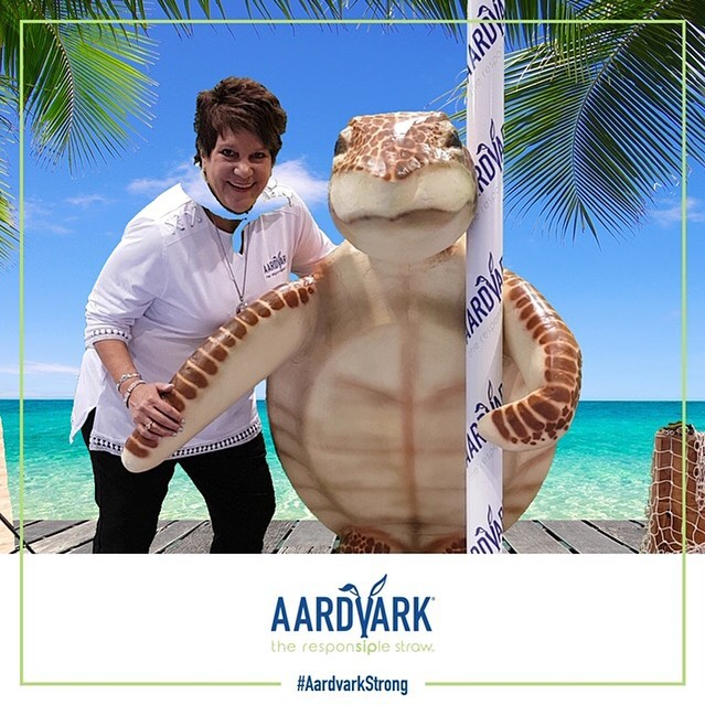 Come visit us at the NRA Show in Chicago this weekend and get your picture with our sea turtle! @nationalrestaurantshow  #aardvarkstrong #paperstraws #seaturtleapproved