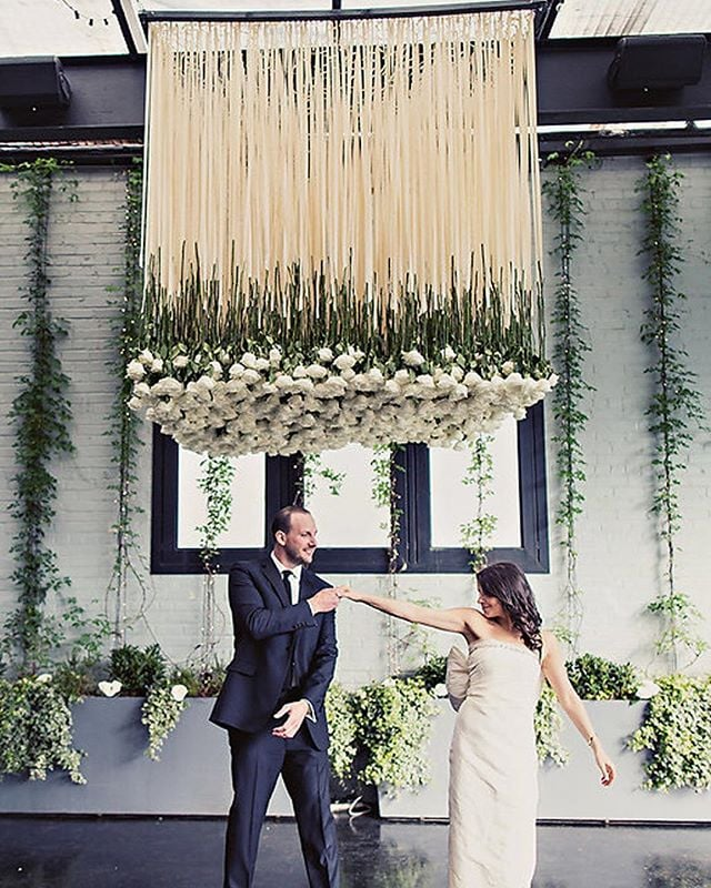 Last year was filled with standout custom decor. See our entire gallery of favorite moments now on the blog. 📷: @inbalsivan. Venue: @501union Planner: @jovemeyer Floral installation: @mimosafloral #theloveunion #1300roses #floralinstallation #brooklynwedding #weddinginspo #justengaged