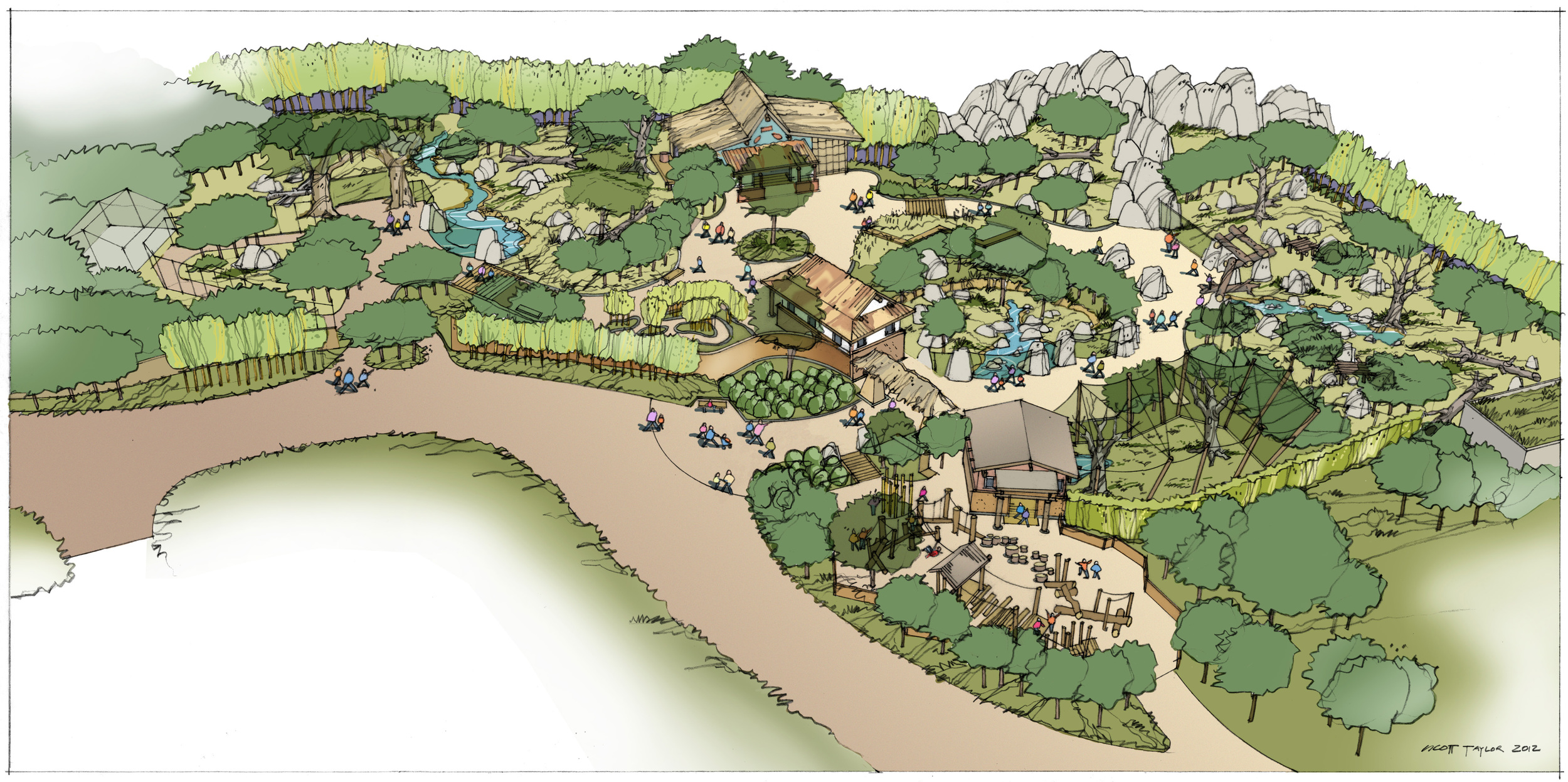 Conceptual sketch of Banyan Wilds and the new crossover path at the heart of Woodland Park Zoo