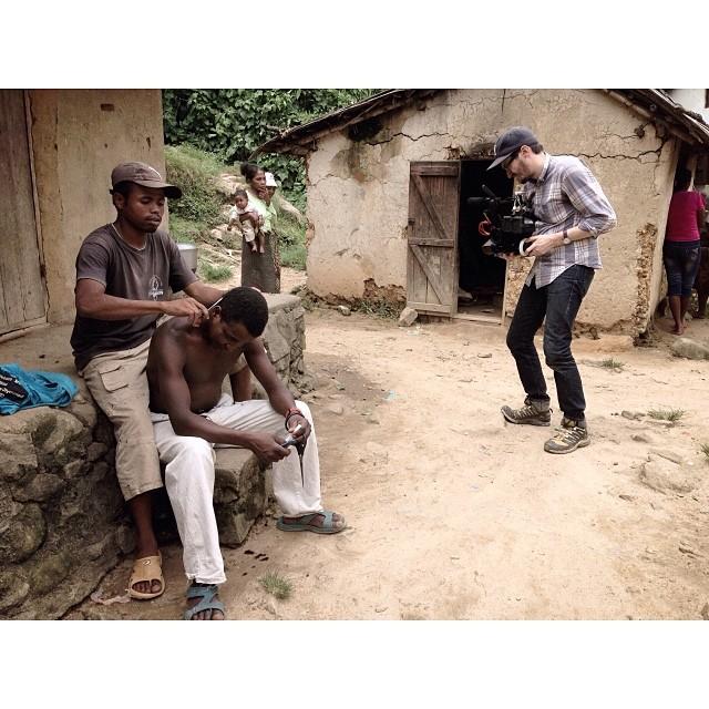 Village barber & @dustinlane in #Madagascar for #indyprize