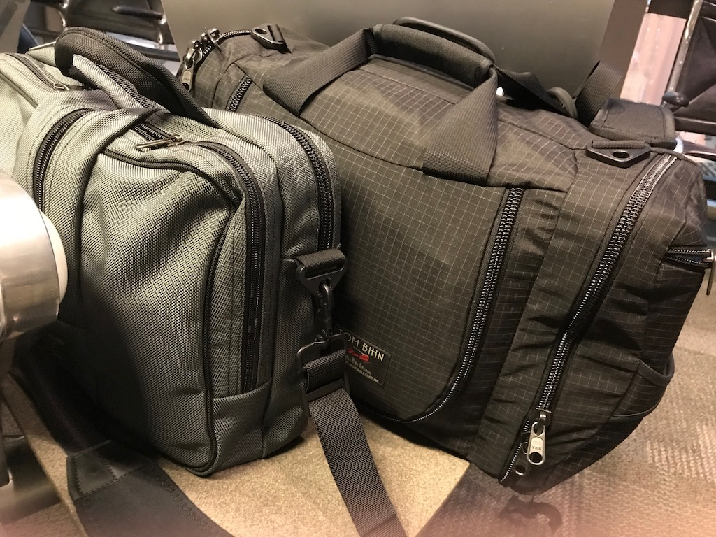 The Tom Bihn Aeronaut 30 and Pilot packed and ready to go at the Austin airport.