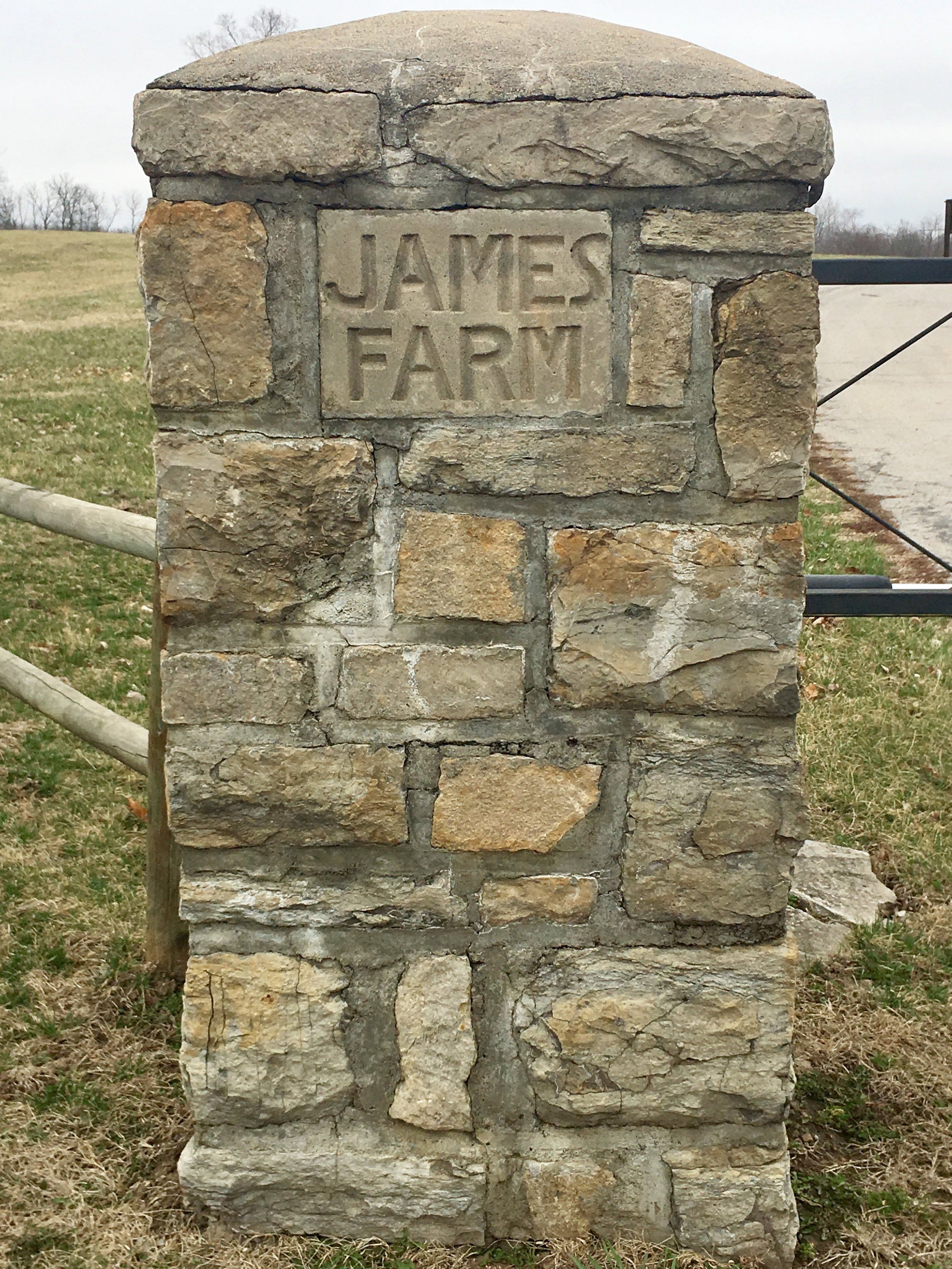 At the edge of the Jesse James farm outside Kearney, Missouri.
