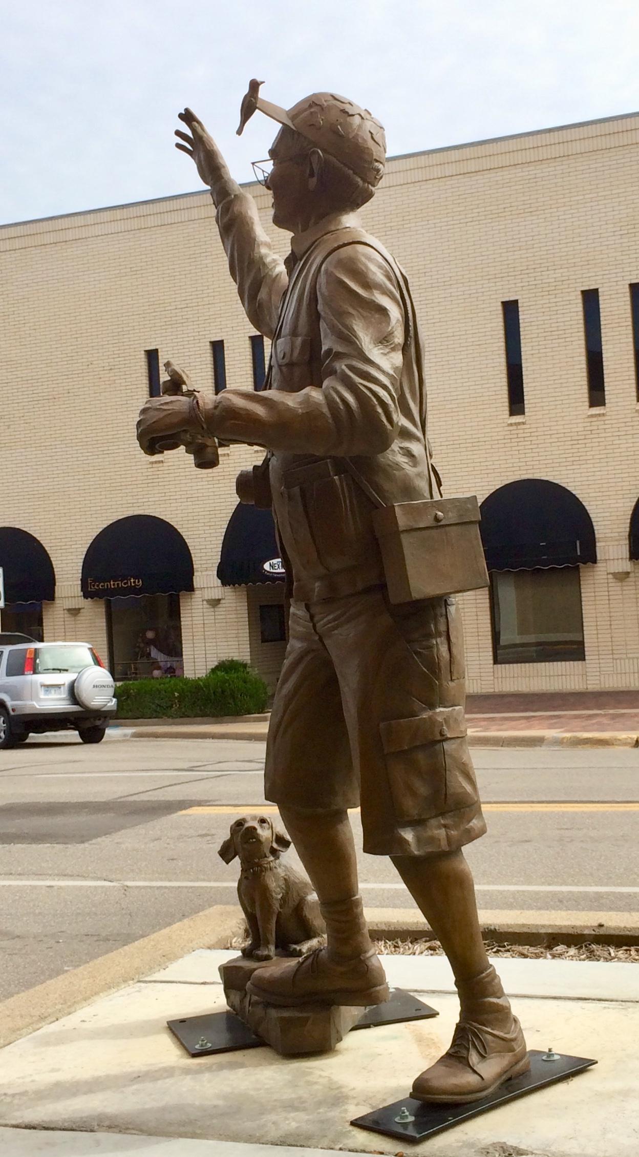 A statue of a birder in Salina, Kansas.