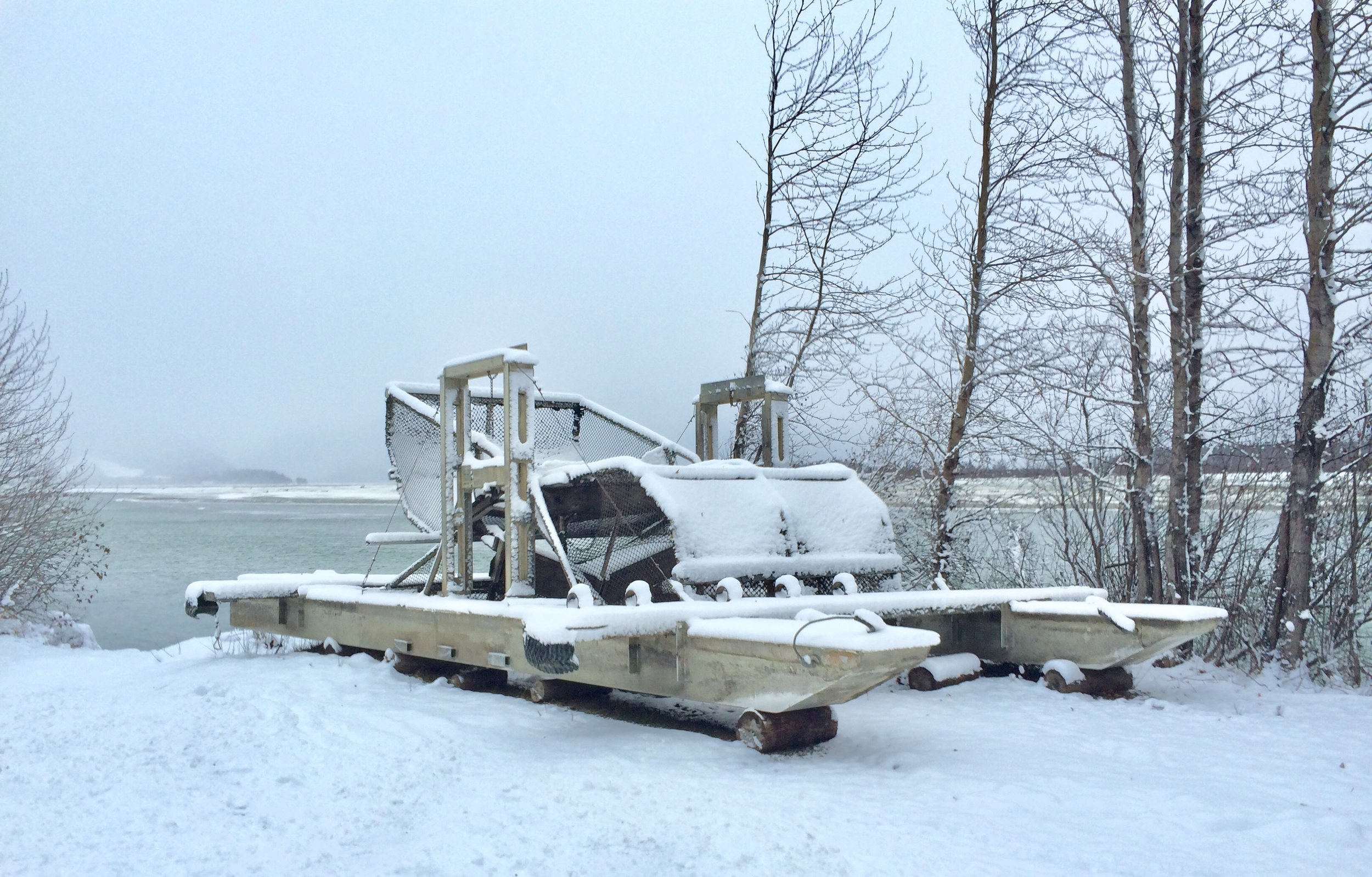 It's not the Flintstones' newest vehicle. It's a fish wheel, a water-powered device used for catching fish.