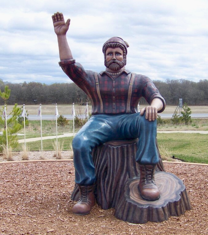 This was how high Paul Bunyan had predicted the snow would be this winter.