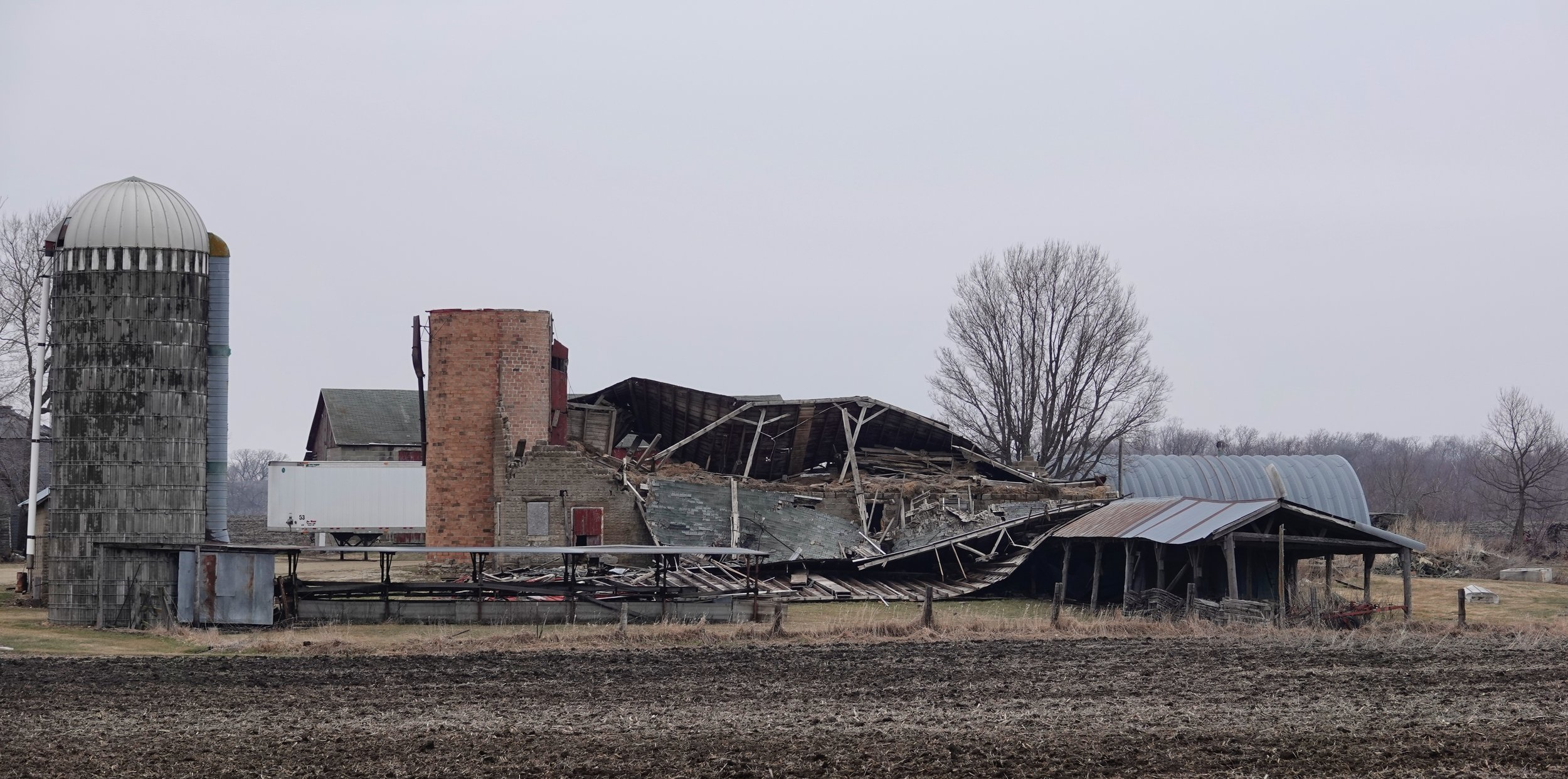 Time has knocked the wind out of this barn.
