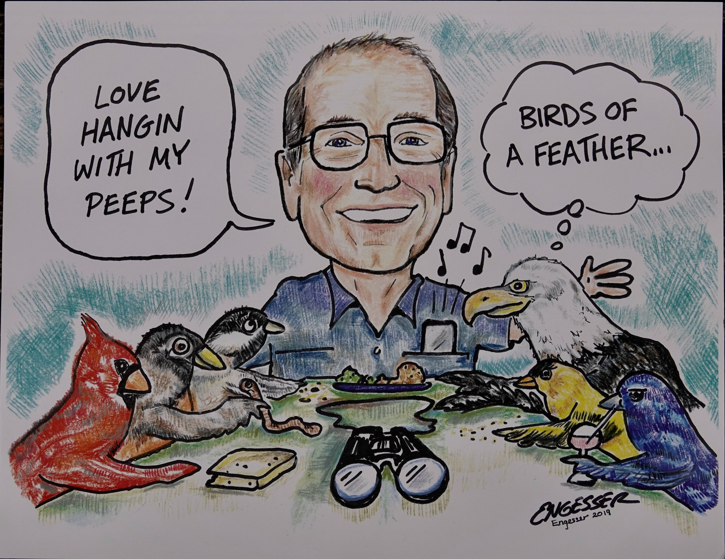 This drawing of the Ol' Birdbrain, also known as Al Batt, was done by Joe Engesser of Red Wing.
