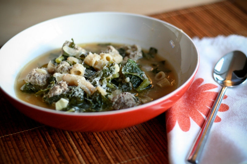 Escarole White Bean Soup with Meatballs