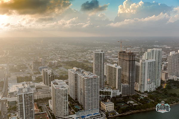 aerial photo miami at sunset