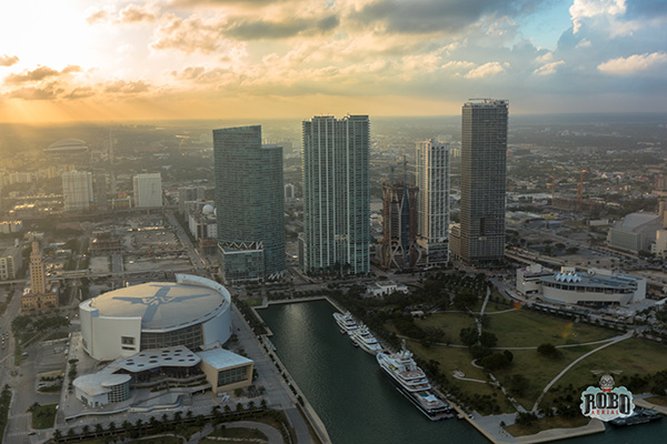 miami sunset aerial photo
