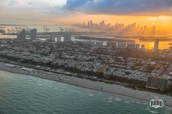 aerial shot of miami at sunset