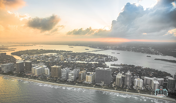 miami fl sunset aerial photo