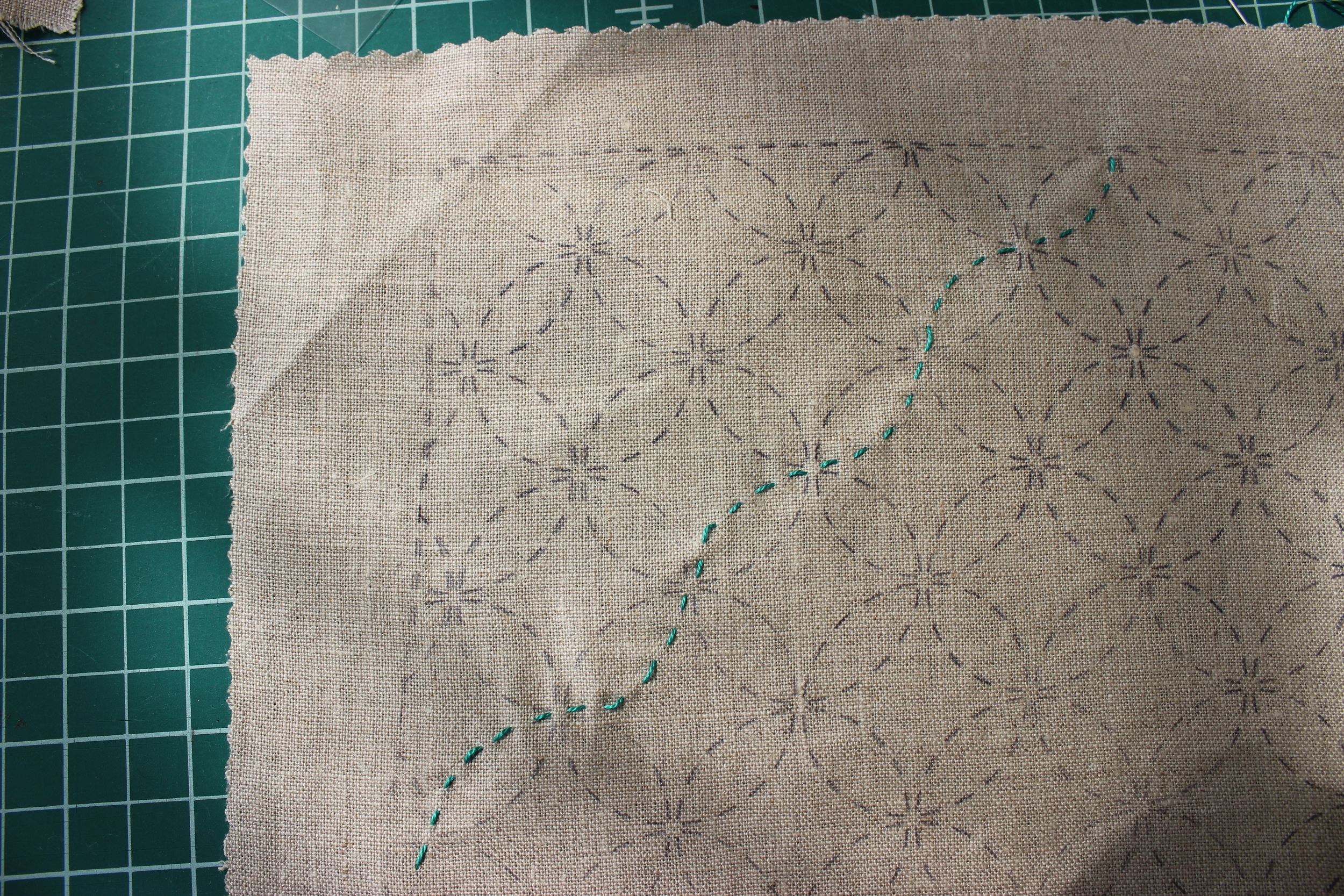 Here's a photo of our hoops and loops pattern in progress. This pattern was stamped on natural linen fabric, but we find light-colored cotton takes the ink much more easily.