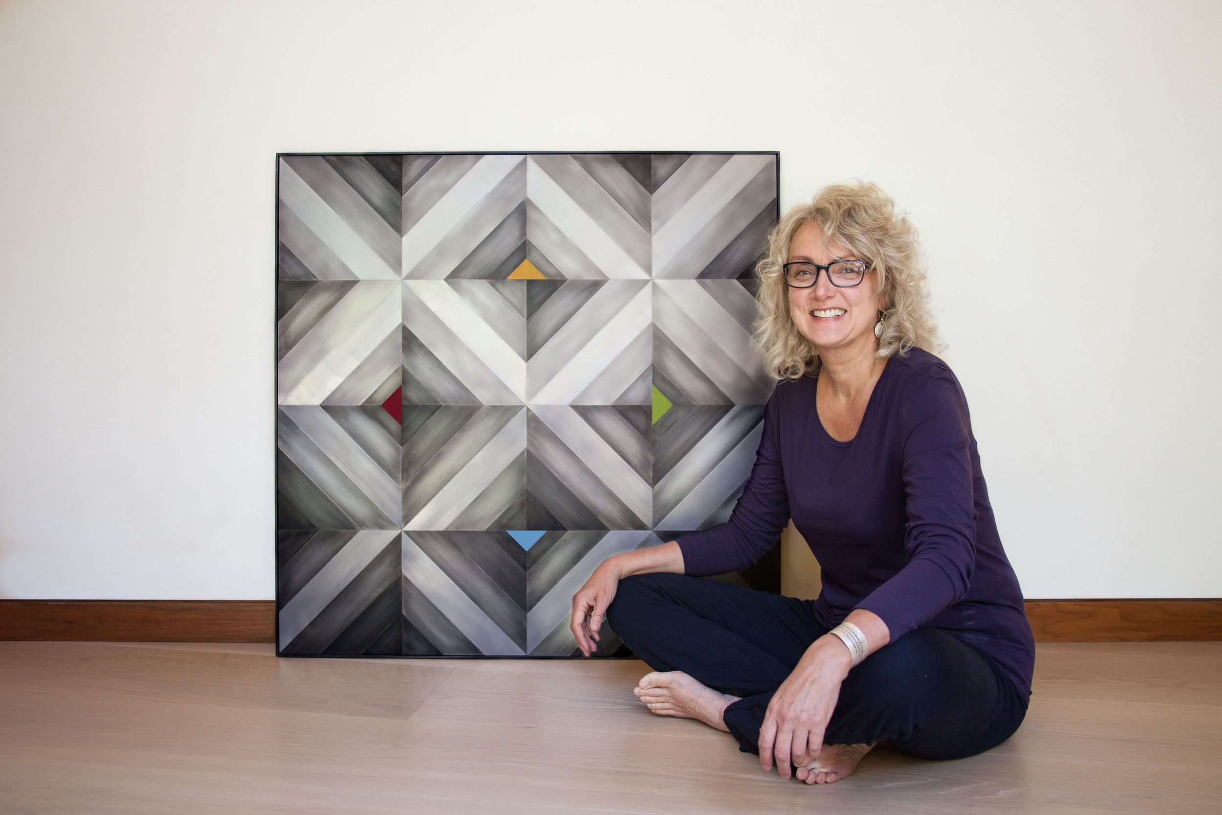 My mother, Diana Divecha, next to the piece I made for her and my dad