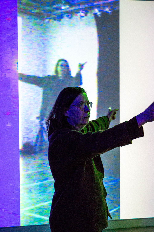 Interactive professor  Barbara Lattanzi  testing work while giving some suggestions.