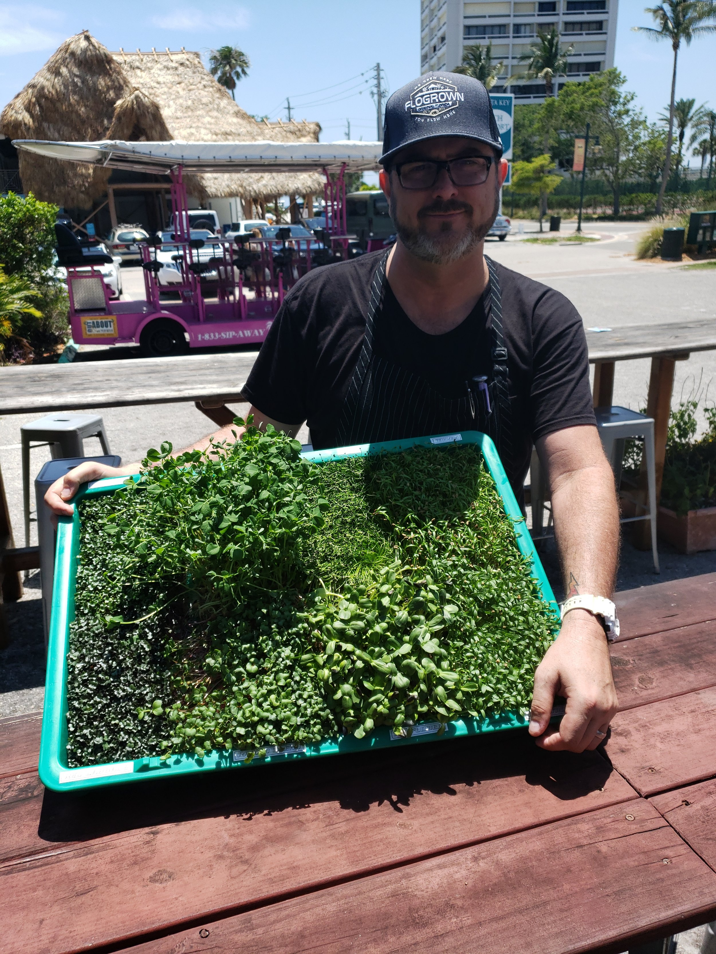 Chef Chip with our self sustainable, NON GMO, locally grown , hydroponic herbs!