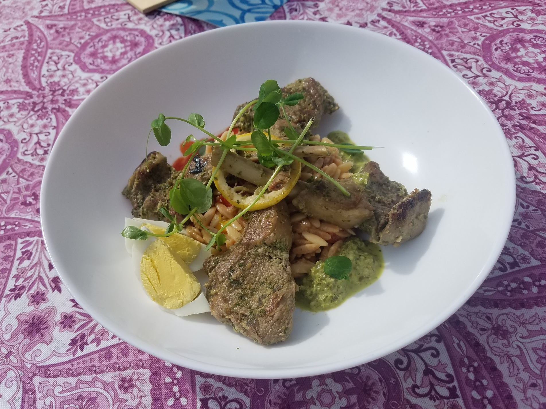 Past Special: Lamb lollipops over an Orzo salad