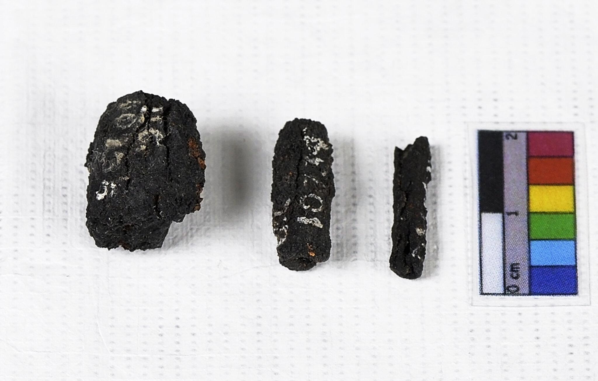 Iron beads from meteorites.