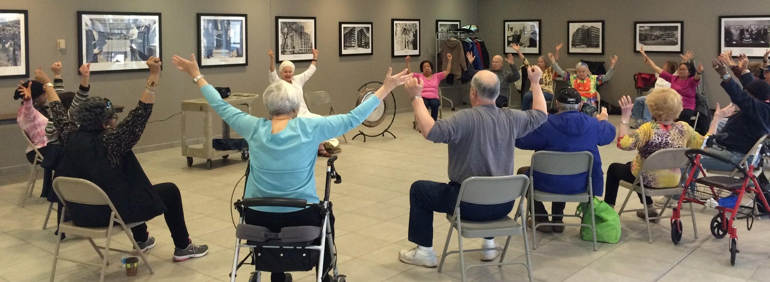 Weiss Hospital Senior Center Class - 2016 - Sat Sevak Kaur Level 1 Teacher leads her Seniors through a beautiful series of movements, chanting and meditation.