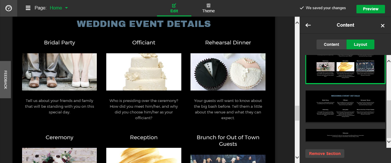 GoDaddy Go Central Wedding website
