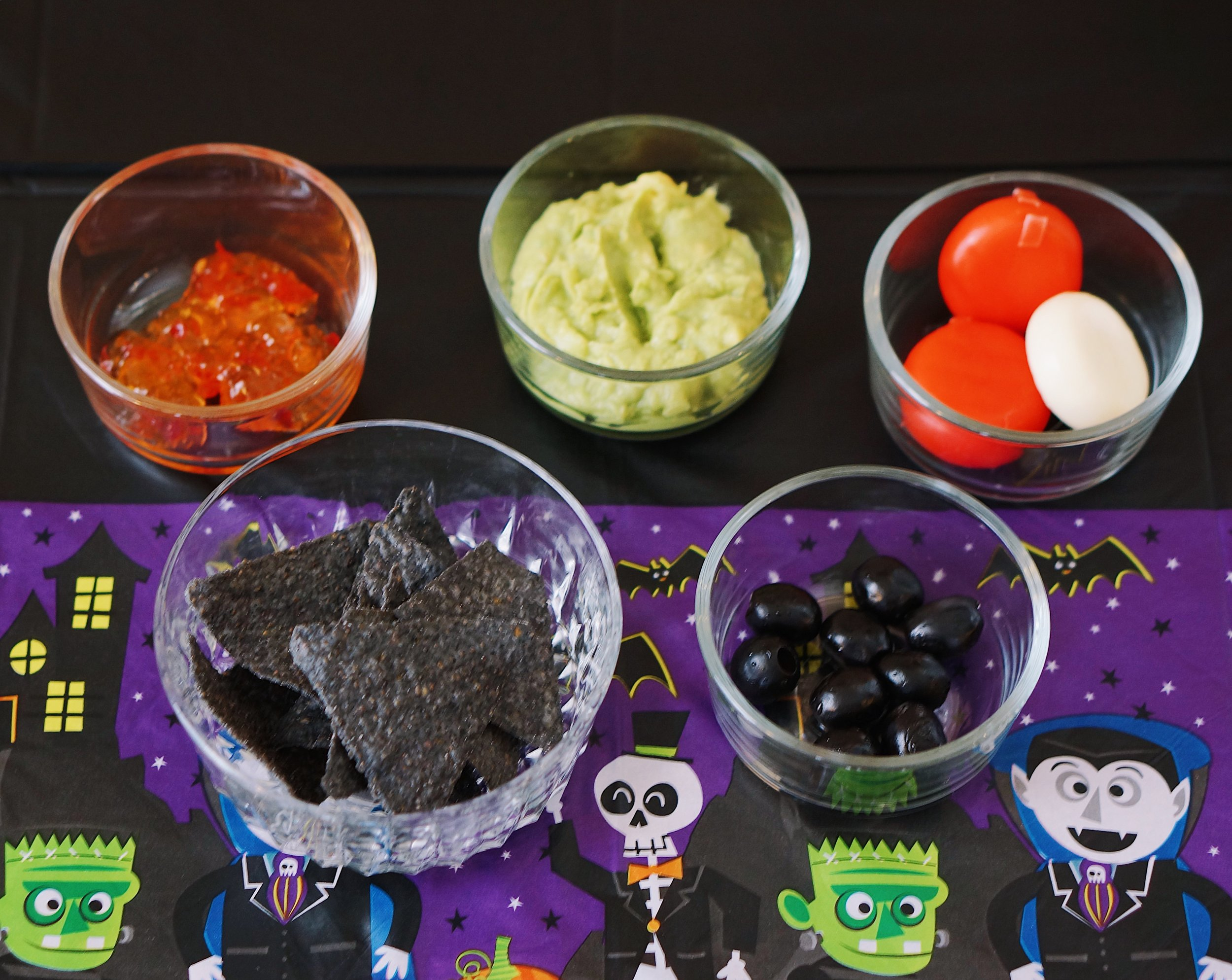 Halloween Themed Chips and Guac ingredients